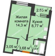 1 комнатная квартира 33,93 м² в ЖК Мандарин, дом 2 позиция 5-8 секция - планировка