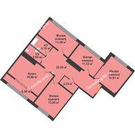 4 комнатная квартира 113,06 м², ЖК Сердце - планировка