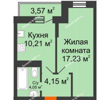 1 комнатная квартира 36,71 м² в ЖК Россинский парк, дом Литер 1 - планировка
