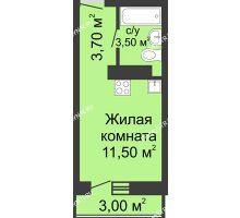 Студия 19,6 м² в ЖК Корабли, дом № 11 - планировка