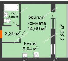1 комнатная квартира 34,07 м², ЖК Дом у озера - планировка