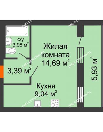 1 комнатная квартира 34,07 м² - ЖК Дом у озера