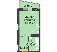 1 комнатная квартира 20,96 м² в ЖК Волна, дом 2 очередь (секция 4) - планировка