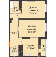 2 комнатная квартира 67,5 м², ЖК Космолет - планировка