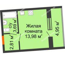 Студия 22,96 м² в ЖК АВИА, дом № 2 - планировка