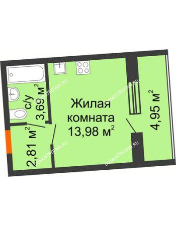Студия 22,96 м² в ЖК АВИА, дом № 2