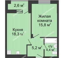 1 комнатная квартира 45 м² в ЖК Октава, дом №6