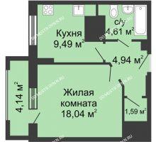1 комнатная квартира 40,74 м², ЖК Гелиос - планировка