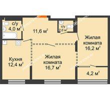2 комнатная квартира 65 м², ЖК Лайнер на Барминской - планировка