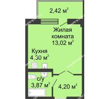 Студия 27,51 м² в ЖК Соловьиная роща, дом № 5 - планировка