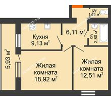 2 комнатная квартира 53,7 м² - ЖК Дом у озера