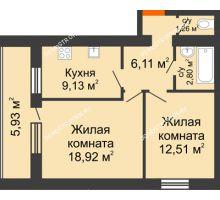2 комнатная квартира 53,7 м², ЖК Дом у озера - планировка