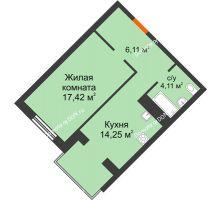 1 комнатная квартира 41,89 м², ЖК Зеленый квартал 2 - планировка