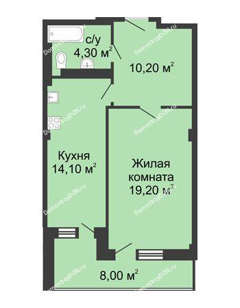 1 комнатная квартира 51,8 м² - ЖК Дом на Береговой